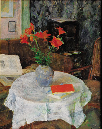 """Interior and stillife with red lillies"""