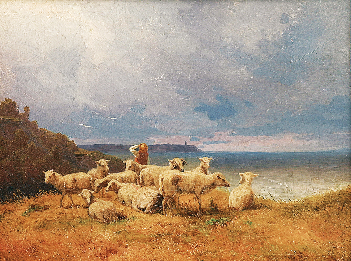 """A shepherd and his flock at the coast of Baltic Sea"""