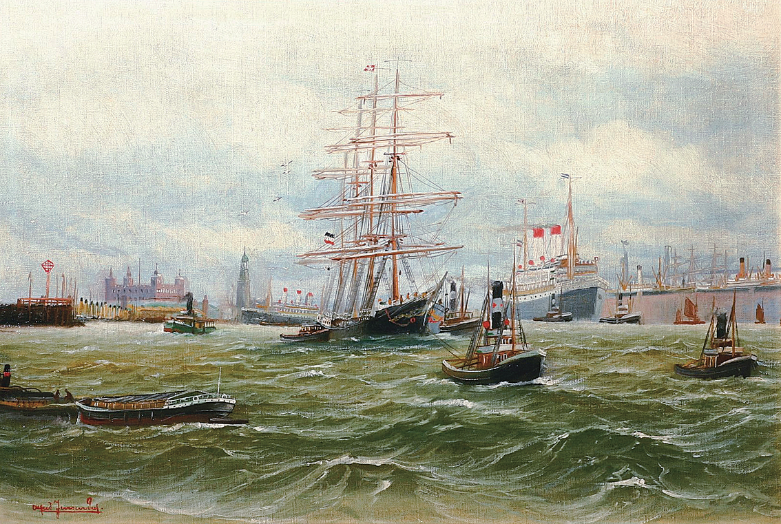 """A panoramic prospect of the harbour of Hamburg"""