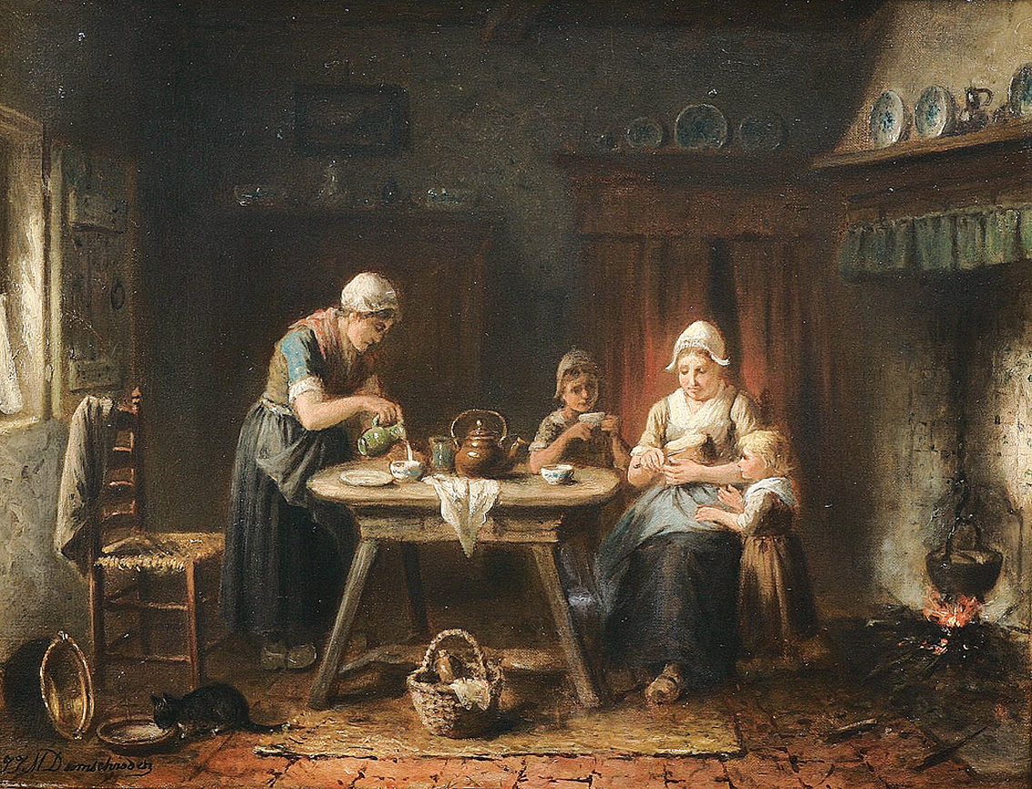 """A family in a frisian kitchen, with children and a cat"""