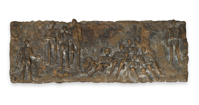 "A modern bronze relief ""People at the beach"""