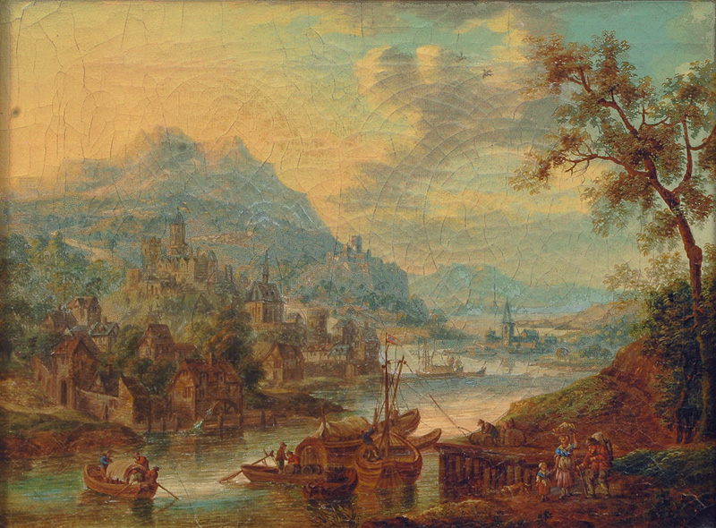 Pair of Paintings: Panoramic Views of a River Valley