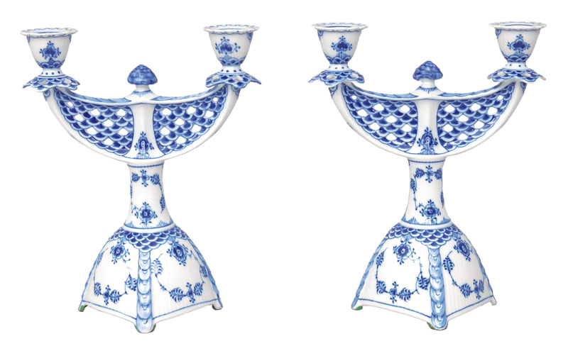"A pair of candlesticks ""Blue fluted full lace"""