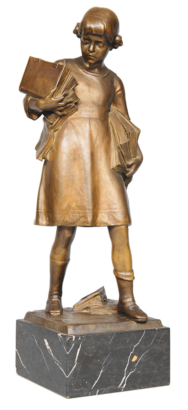 "A large bronze figure ""Girl with books"""