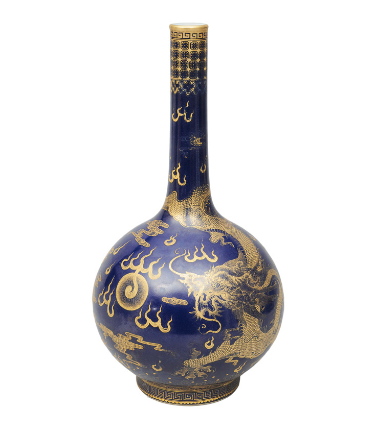 "A magnificent ""Powder Blue"" bottle vase with dragon and phoenix"