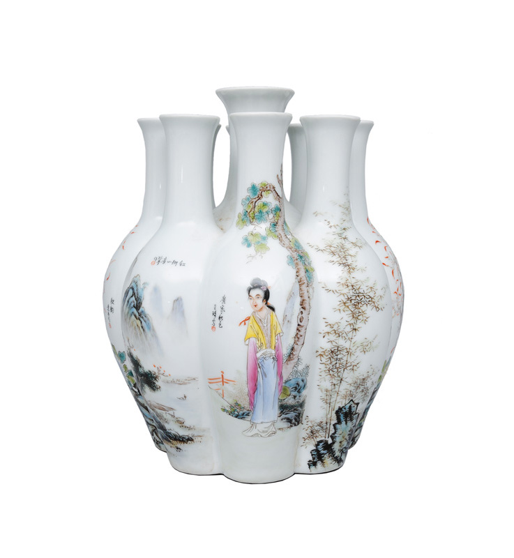 "An exceptional tulip vase with different artists"" motifs"