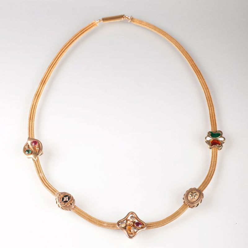 Gold- Collier mit Medaillons