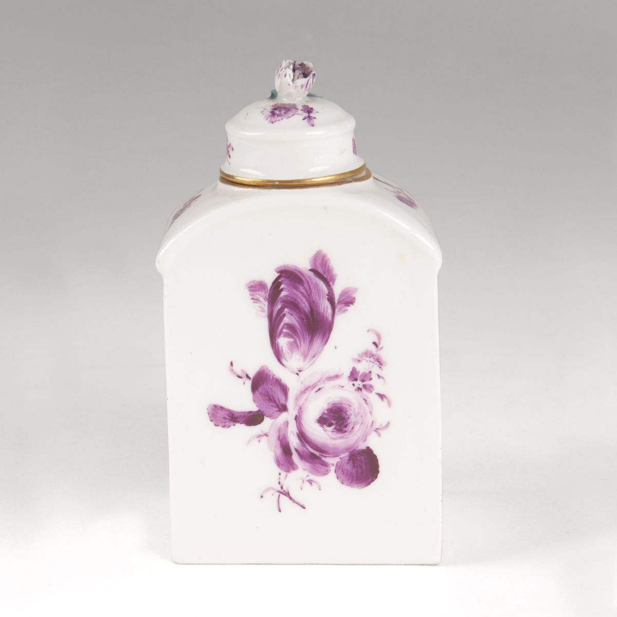 A tea-caddy with flower painting in Purple Camaïeu