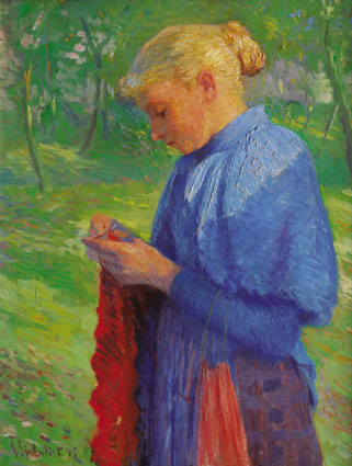 """A girl knitting in a sunny orchard"""