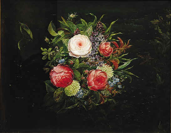 A stillife with roses, forget-me-not and other flowers
