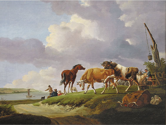 A coastal scene with peasants, cows and bulls, goats, horse and hound