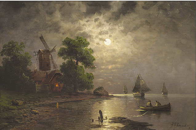 A coastal scene with fishing boats and a windmill in moonlight