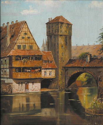 A view  of Nuremberg with River Pegnitz, Beckmesserhaus and Henkerstieg