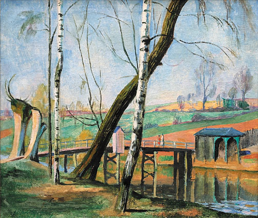 A river-landscape in springtime with a bridge and figures