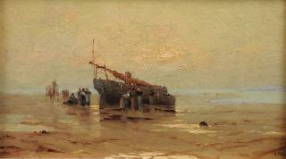 Fishing boats and persons at low-tide on the shore