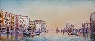 """In Venice: boats on Canal'grande, Saint Mary and custom-house beyond"""