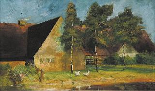 A view of a village with white geese at the water