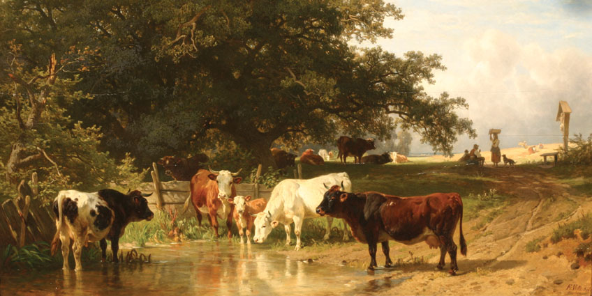 Cattle drinking at a forest border; a hay-harvest beyond