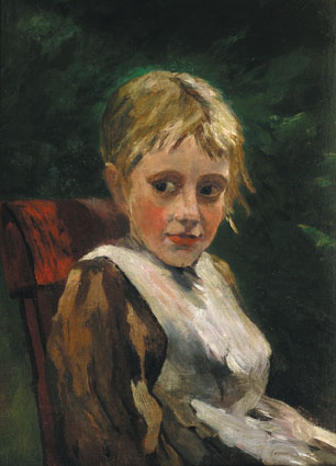 Portrait of a sitting girl in a garden