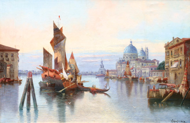 A Venice bozzetto with various boats and figures