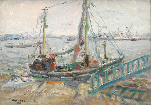 """A fishing-boat in the harbour of Hamburg"""