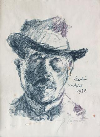 Portrait of the artist with a hat
