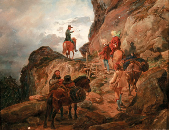 Travellers with horses on a mountain path