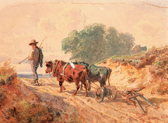 A peasant with oxes and a plough in a sandy narrow pass