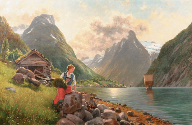 A sitting girl in an extensive norwegian Fjord landscape