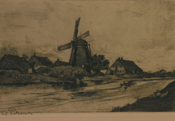 A river landscape with a village and a windmill in Northern Germany