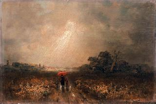 """Mother and child going home in stormy weather"""