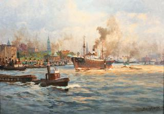 A prospect of the harbour of Hamburg