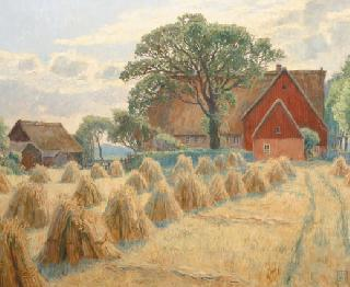 """Hay-harvest in front of the 'Feddersen-Farm' (Sylt)"""