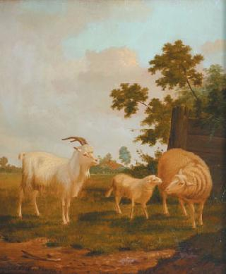 Goat, sheep and lamb in a landscape, fence and farmhouse beyond