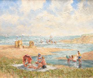 Bathing people and playing children at the seashore (Sylt)