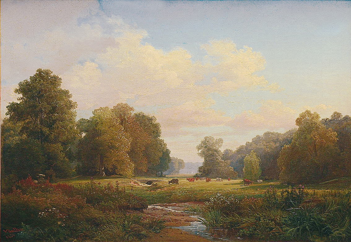 A wooded pasture landscape with a brook and cattle and a shepherdess