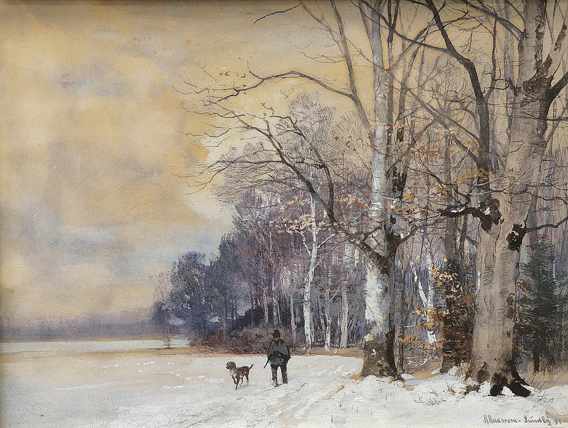 """A hunter and his dog near a wintry forest"""