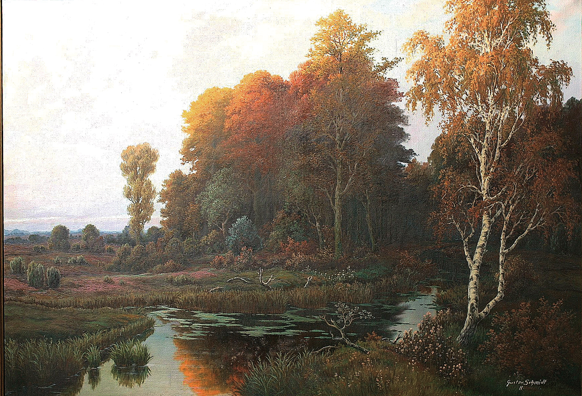 A wooded heath-landscape and a streamlet in autumn