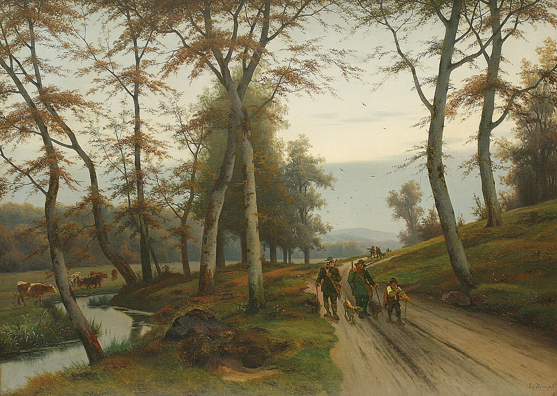 A wooded view on the Rhine with hunters, hounds and watering cattle