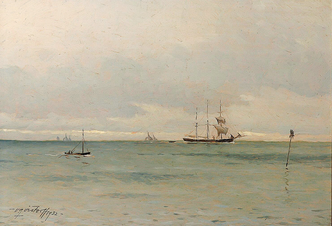 Sailships and boats on quiet Sea