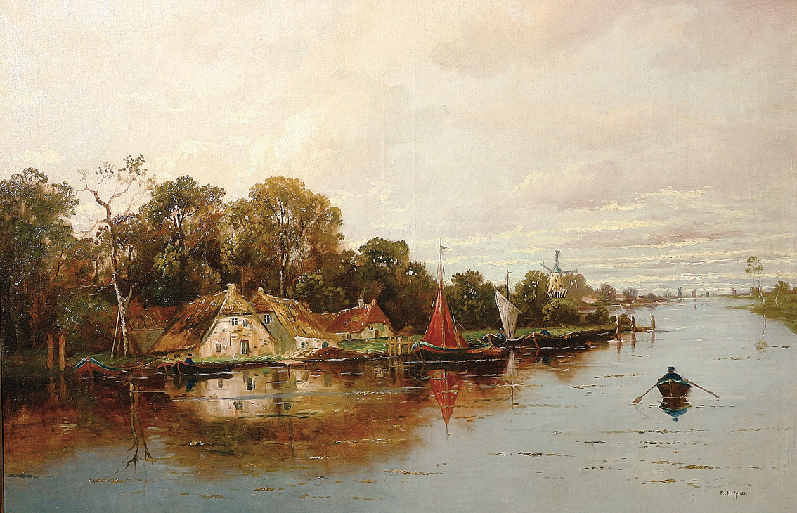 An extensive river landscape with boats, cottages, windmills a.s.o.