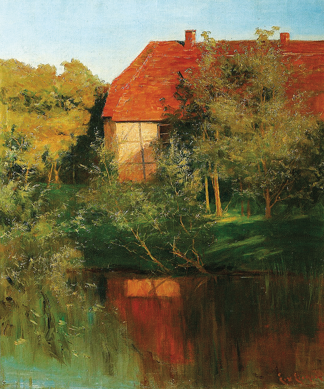 """A cottage at a pond in sunset"""
