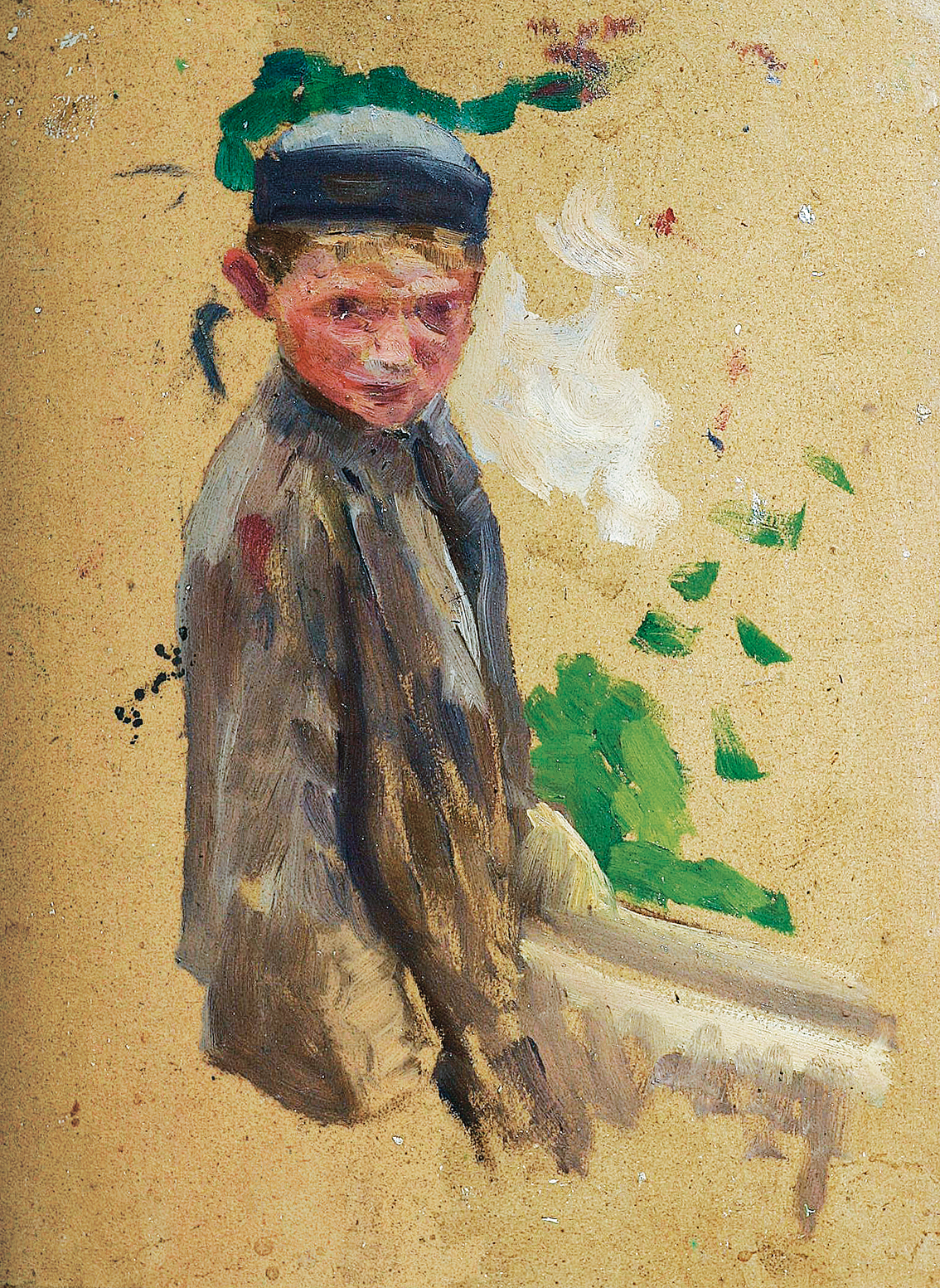 A boy with a cap
