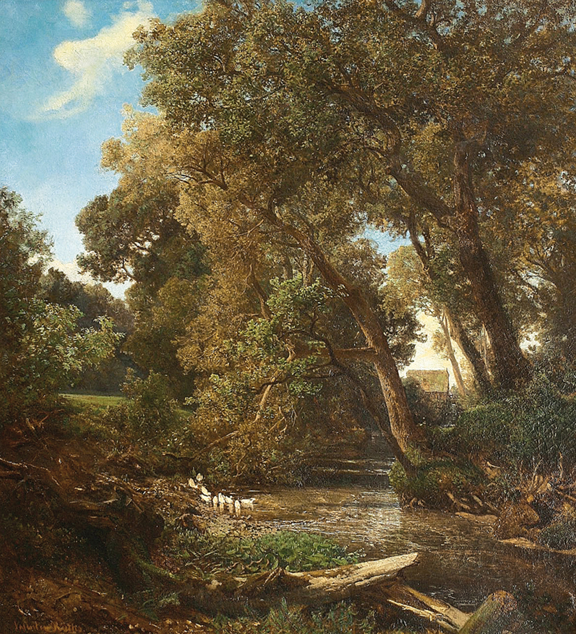 """A wooded landscape with a brook and white ducks, a watermill beyond"""