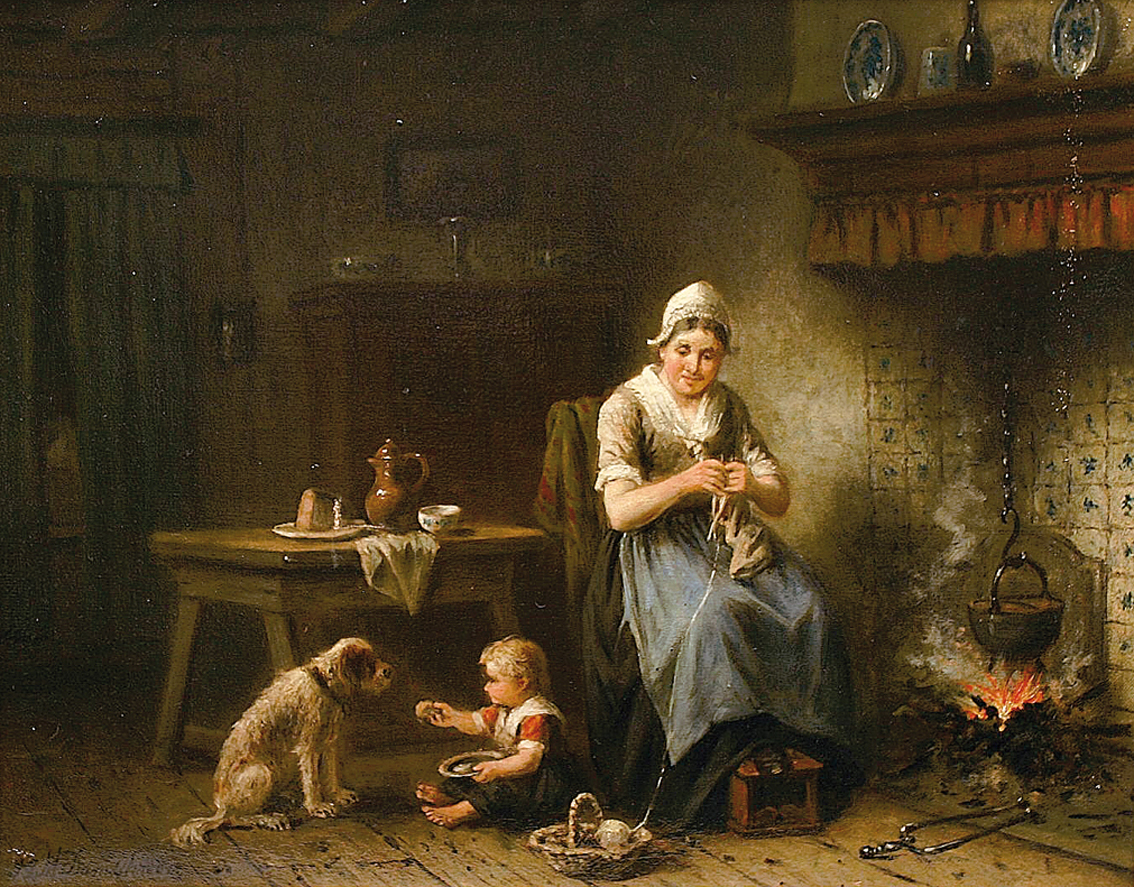 A family scene in the kitchen with mother, child and dog