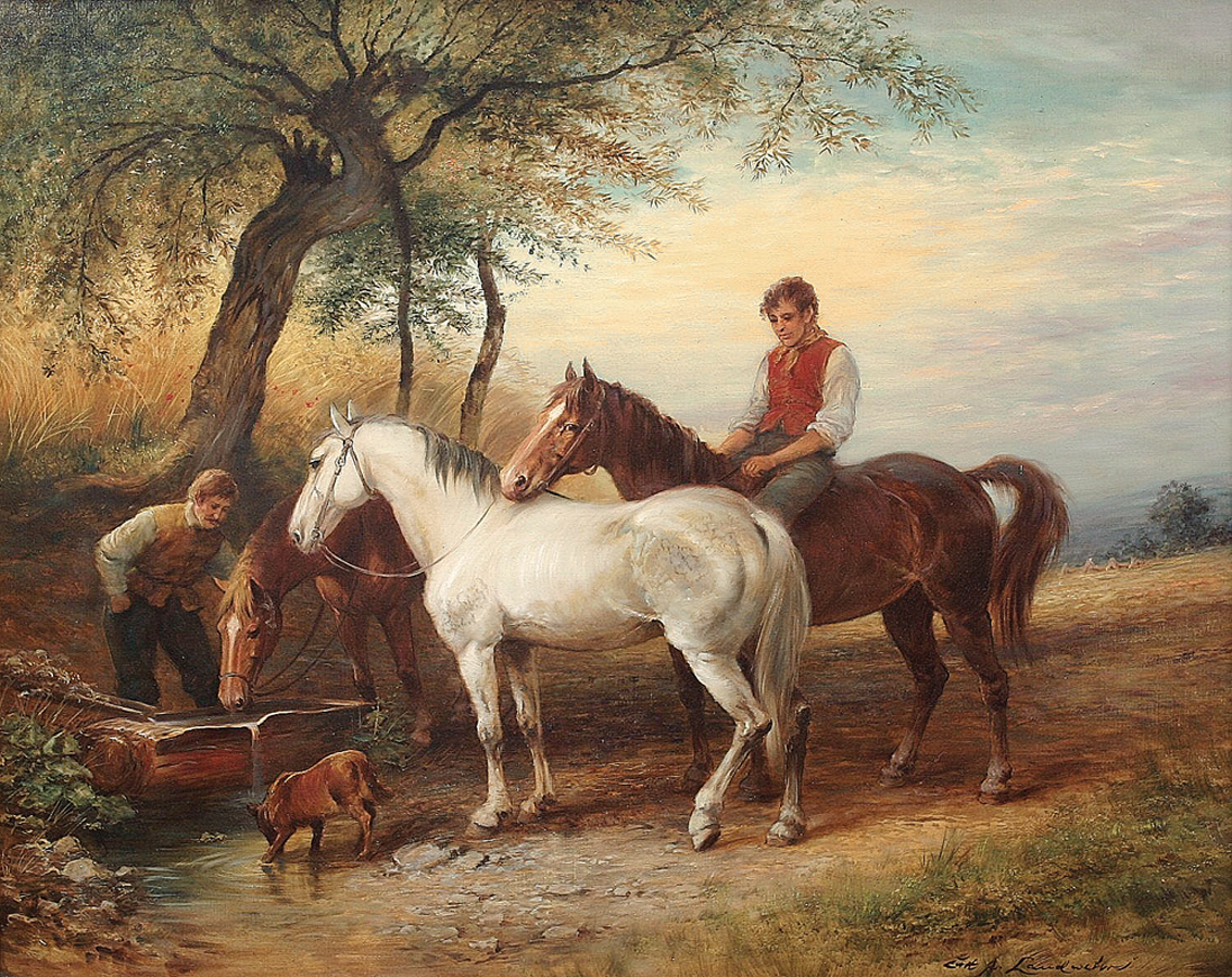 Two peasants watering horses and a dog