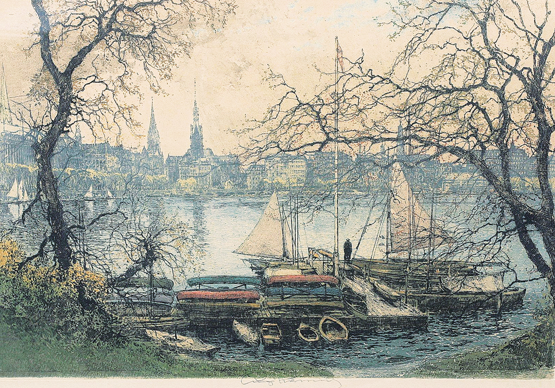 """Hamburg: a view on the 'Binnenalster"""