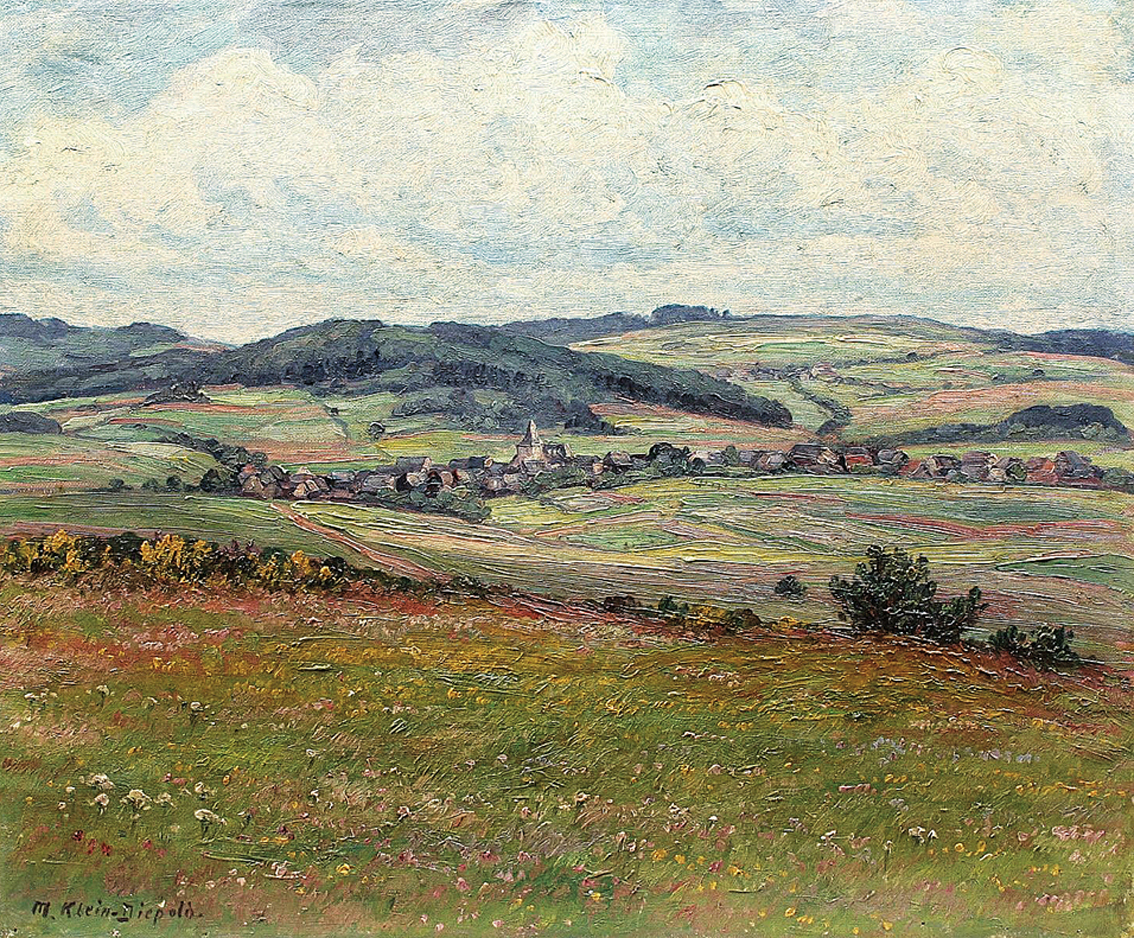 """A landscape in the 'Eifel', a village beyond"""