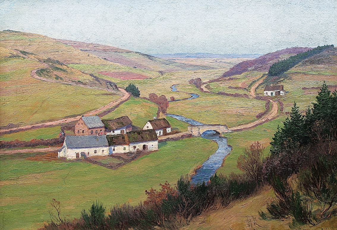 A landscape in the 'Eifel' with cottages and a streamlet in a valley