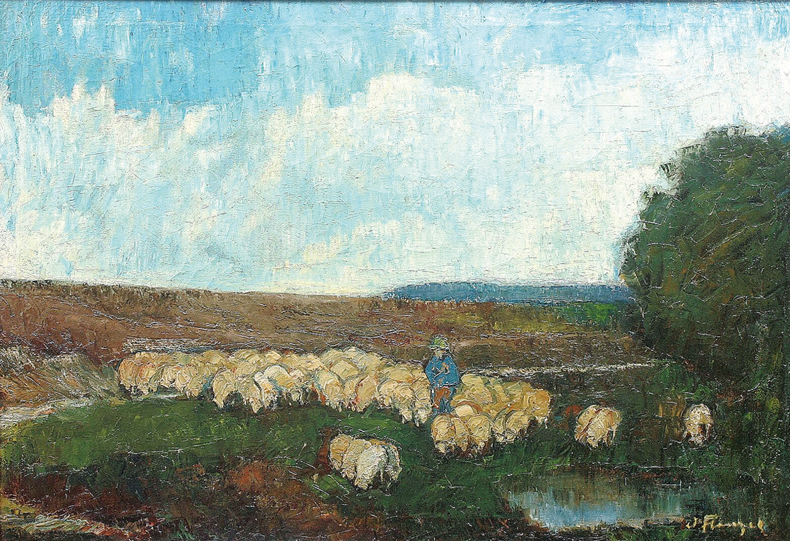 Shepherd and sheep in a heath-landscape